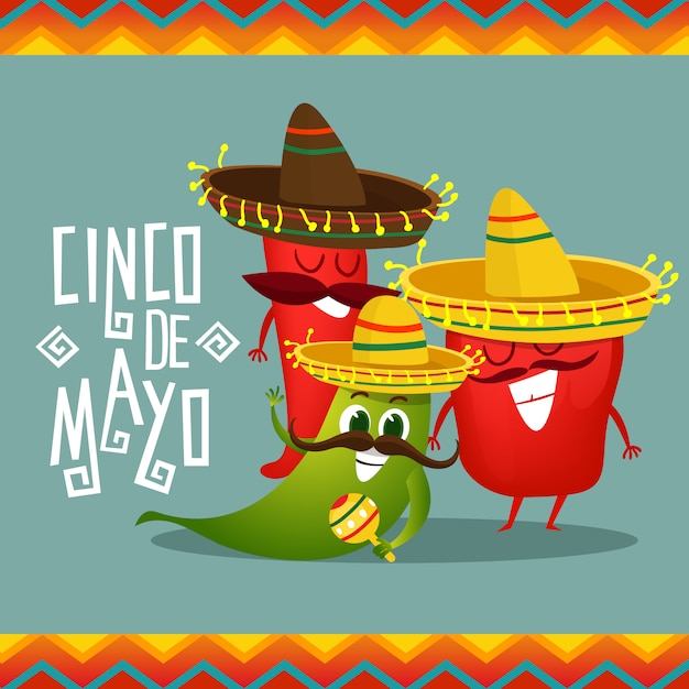 Cinco De Mayo Background With Pepper Characters Vector ...