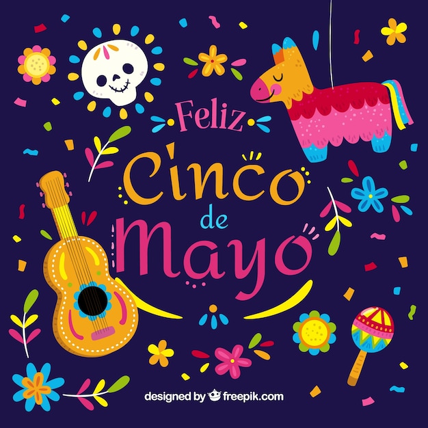 Cinco De Mayo Background With Pinata And Guitar Vector ...