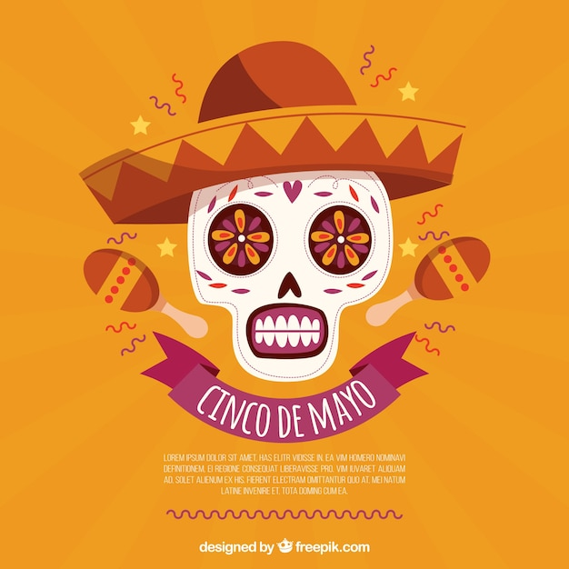 Cinco De Mayo Background With Skull And Maracas Free Vector
