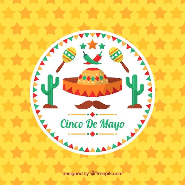 Cinco de mayo sfondo di stelle e oggetti tradizionali Vettore gratuito