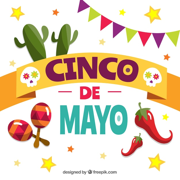 Cinco de mayo background with traditional elements Free Vector