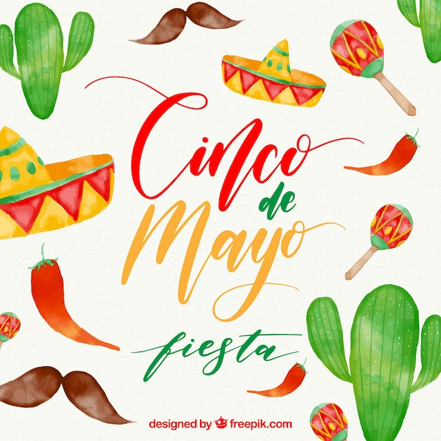 Cinco De Mayo Background With Watercolor Elements Free Vector