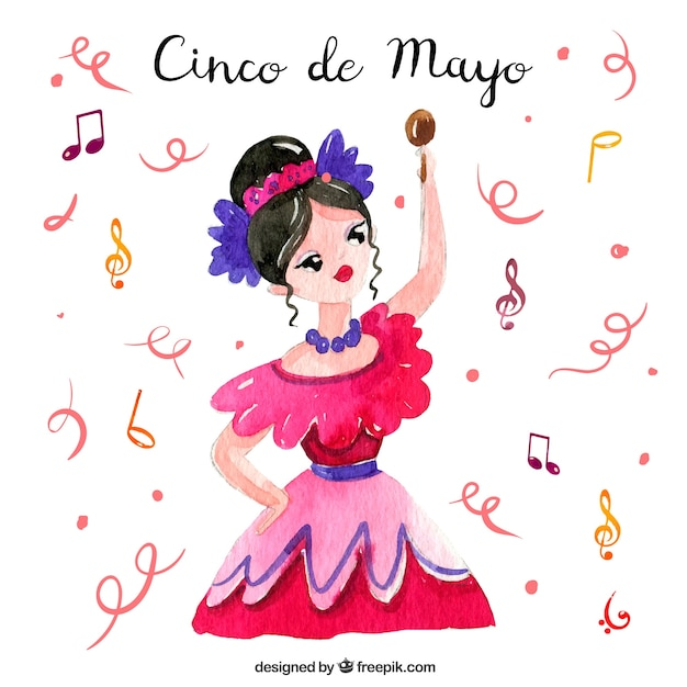 Cinco de mayo background with woman dancing in\ watercolor style