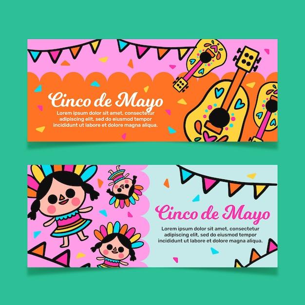Концепция баннеров синко де майо Бесплатные векторы