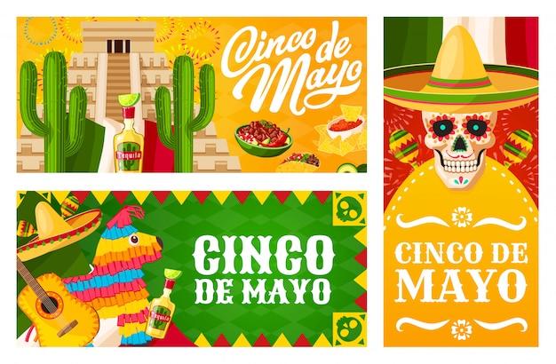 Синко де майо баннеры мексиканской праздничной фиесты Premium векторы