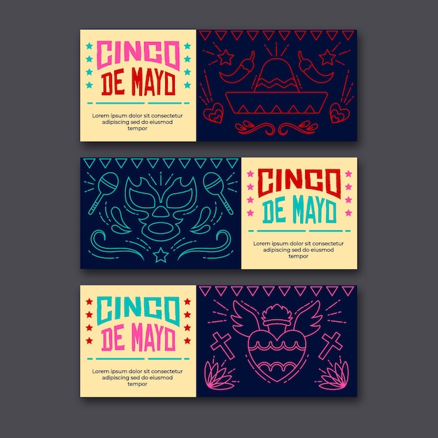 Шаблон баннеров синко де майо для мероприятия Бесплатные векторы