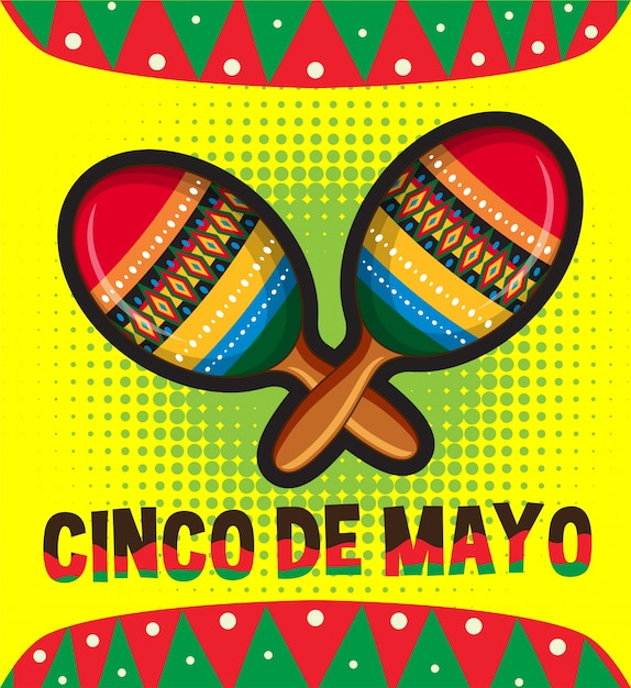 Cinco de mayo card template with maracas Free Vector