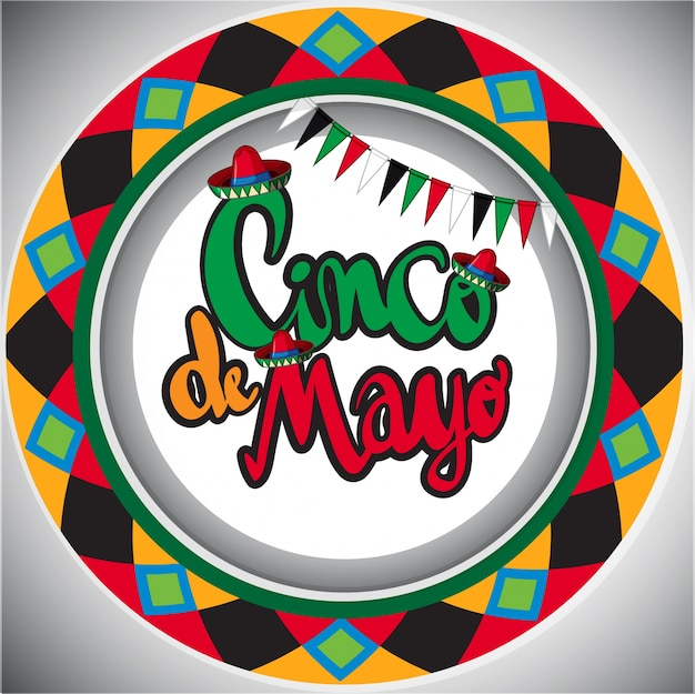 cinco de mayo card template with round design vector free download