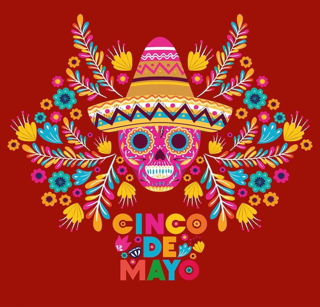 Cinco de mayo card with skull and hat Premium Vector