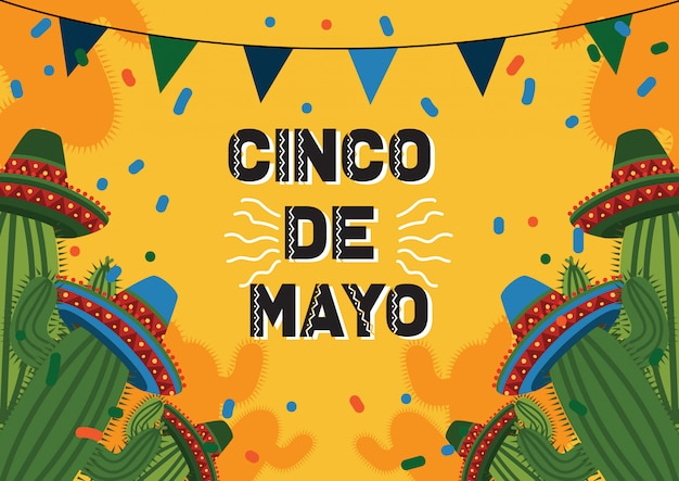 Cinco de mayo celebration background with cactus and mexican hat Premium Vector