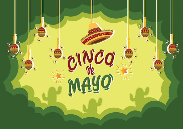 Cinco de mayo celebration background with cactus and traditional musical instruments Premium Vector