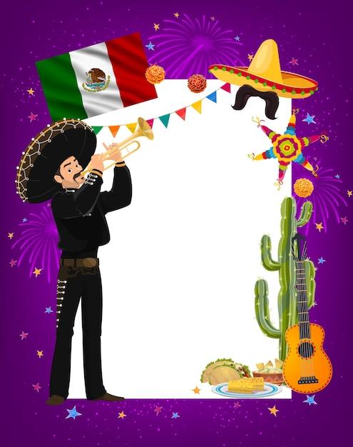 ソンブレロのマリアッチメキシコのミュージシャンのキャラクターとトランペットを演奏する民族衣装のシンコデマヨフレーム。ラテン系料理のタコス、トウモロコシ、ワカモレ、サボテン、ギター。漫画シンコデマヨ国境 Premiumベクター