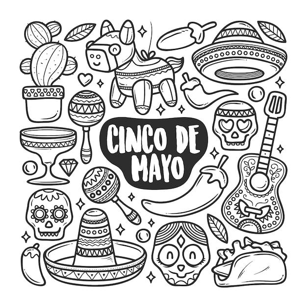 Premium Vector Cinco De Mayo Icons Hand Drawn Doodle Coloring