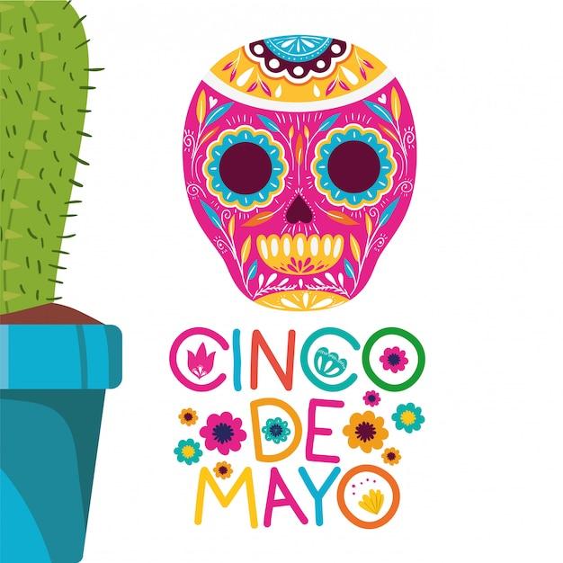 Cinco de mayo label with cactus icon Premium Vector