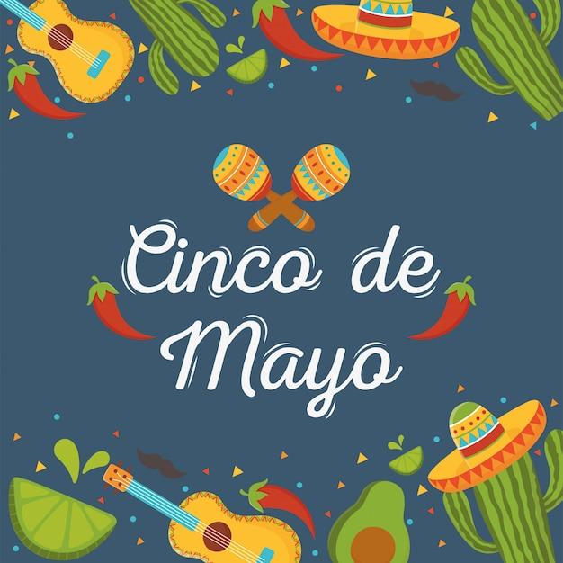Синко де майо надписи маракасы перец гитара кактус мексиканский праздник Premium векторы