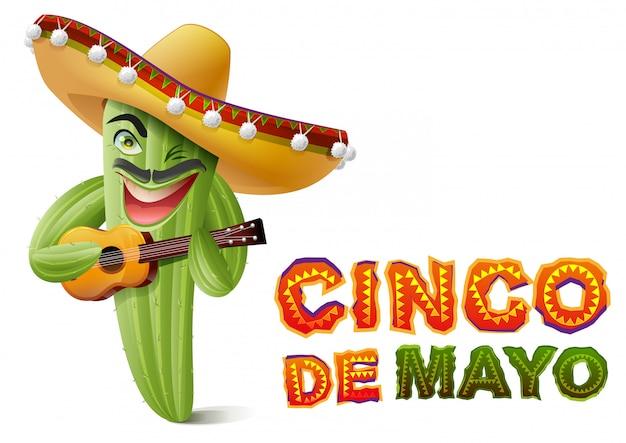 Синко де майо. мексиканский кактус в сомбреро играет на гитаре. шаблон поздравительной открытки Premium векторы
