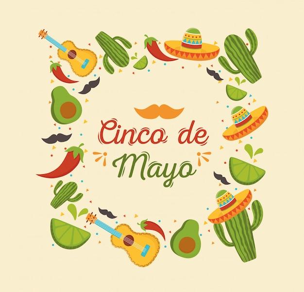 Синко де майо мексиканский праздник гитара кактус авокадо лимон Premium векторы