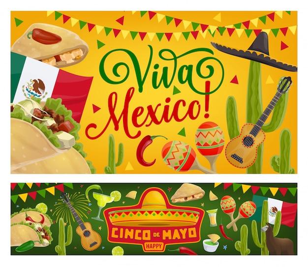 Синко де майо мексиканская вечеринка гитара, сомбреро, флаг Premium векторы