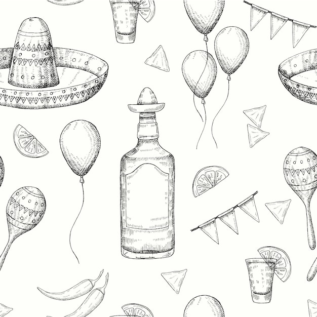 Cinco de mayo seamless pattern with doodle hand drawn mexican symbols- chili pepper, maracas, sombrero, nachos, tequila, balloons, flag garland. sketch. for wallpaper, web page background Premium Vector