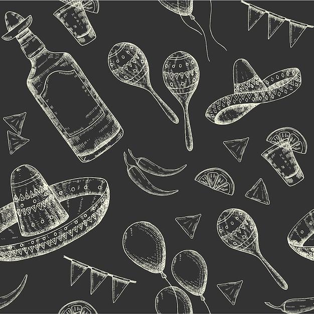 Cinco de mayo seamless pattern with doodle hand drawn mexican symbols- chili pepper, maracas, sombrero, nachos, tequila, balloons, flag garland. sketch. Premium Vector