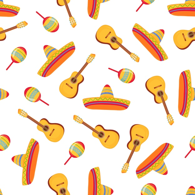 Cinco de mayo. sombrero, maracas and guitar. mexican broad-brimmed straw hat seamless pattern. can be used as wallpaper, wrapping paper, textiles. Premium Vector