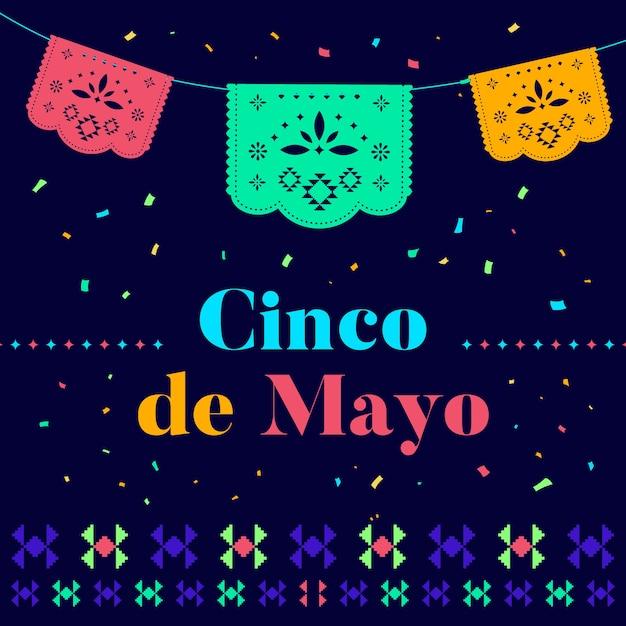 Cinco de mayo with bunting Free Vector