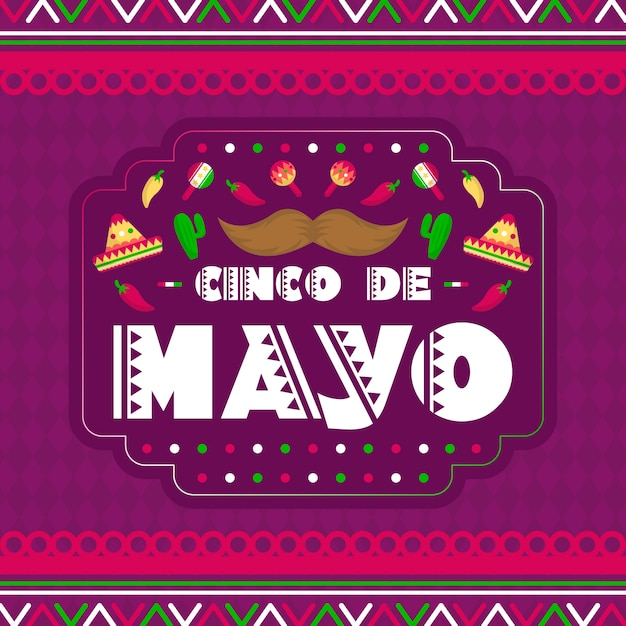 Cinco de mayo with moustache and maracas Free Vector