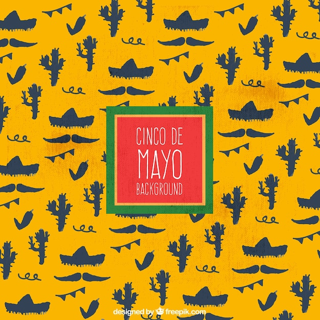 Cinco De Mayo Yellow Background With Elements Vector ...