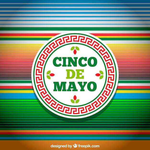 複数の色のストライプを持つcinco de mayoの背景 無料ベクター