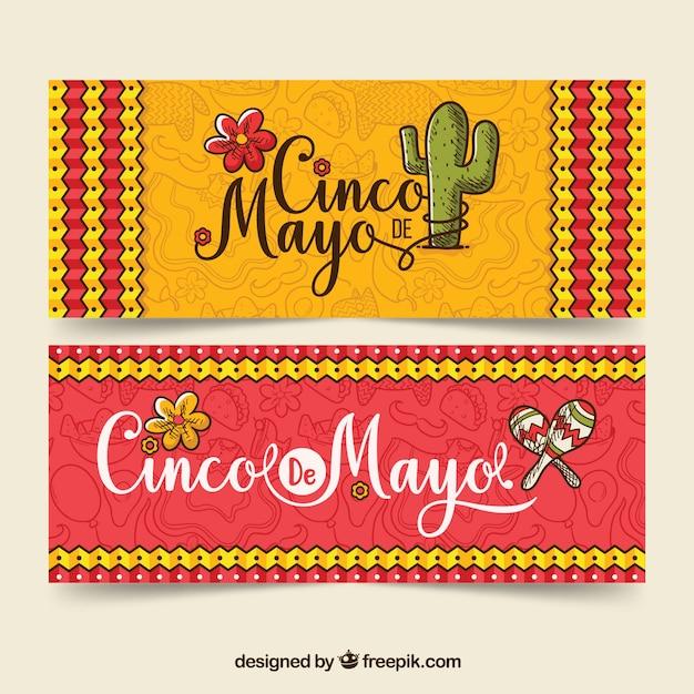 Баннеры cinco de mayo с традиционными элементами Бесплатные векторы