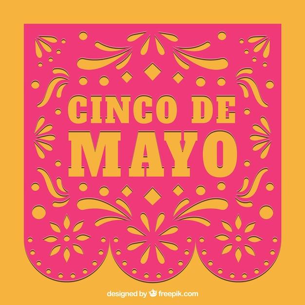 Розовый и оранжевый фон cinco de mayo Бесплатные векторы