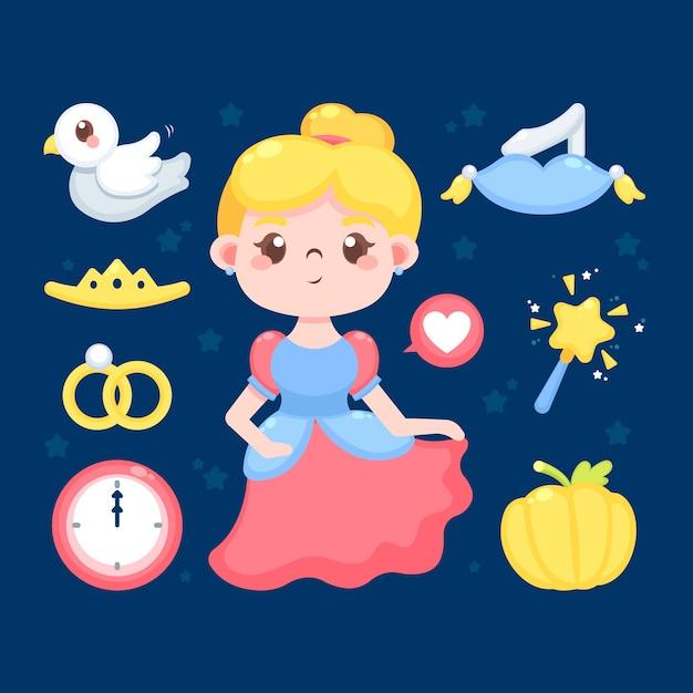 Золушка сказочный персонаж иллюстрации Бесплатные векторы