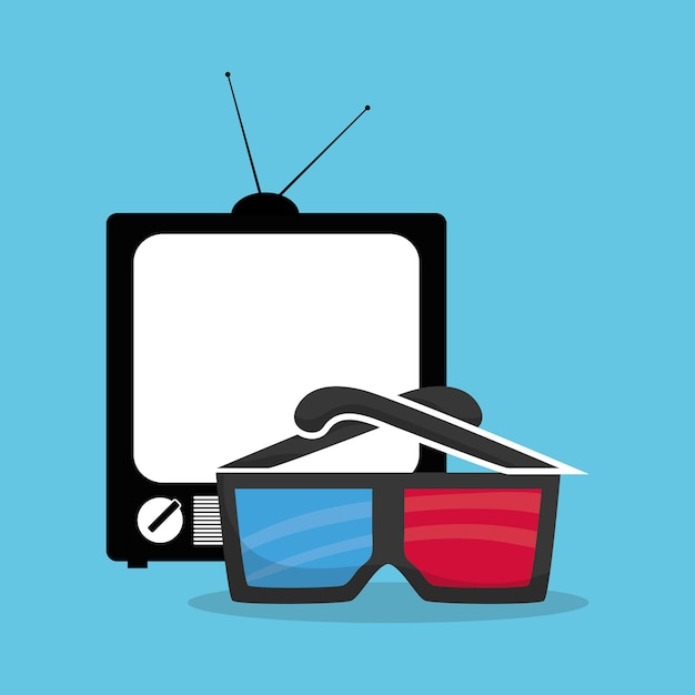 Cinema 3d glasses home television Premium Vector