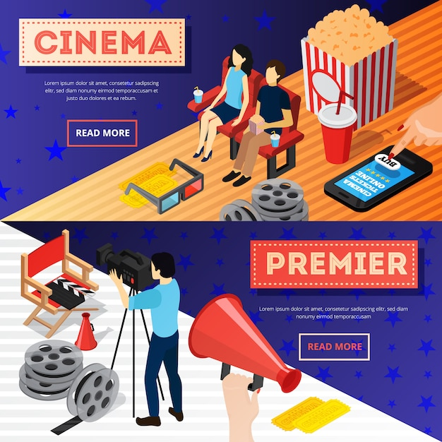 Cinema 3d isometric banners with conceptual images of popcorn film reel online tickets and camera operator Free Vector