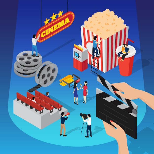 Cinema 3d isometric composition with human figures shooting movie sitting on beverage cup and hanging sign Free Vector