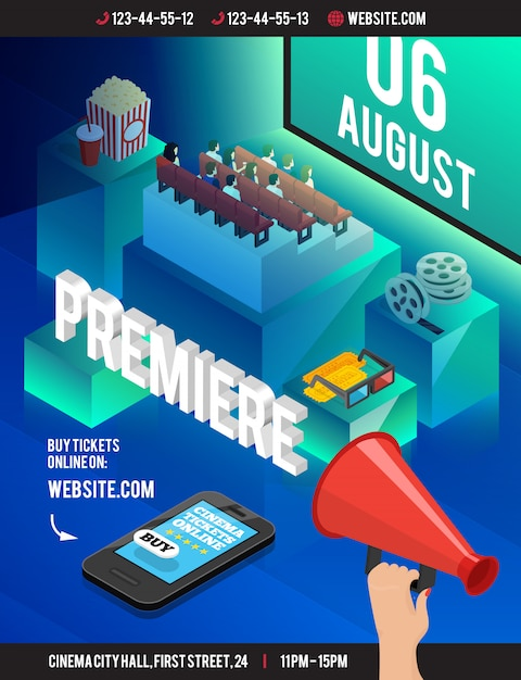 Cinema 3d isometric poster with cumbersome cubes theatre style seating popcorn film reel eyeglasses Free Vector