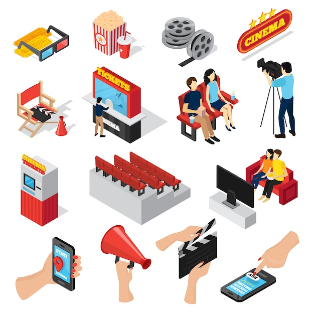 Cinema 3d isometric set of isolated ticket office seats people popcorn and smartphone ticketing app icons Free Vector