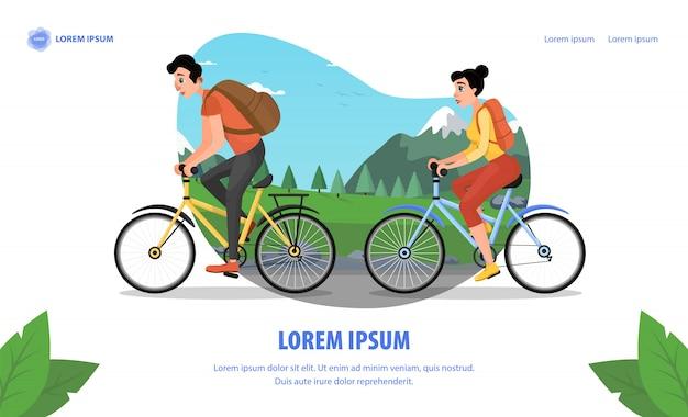 Cinema actor family bike trip cartoon landing page Premium Vector