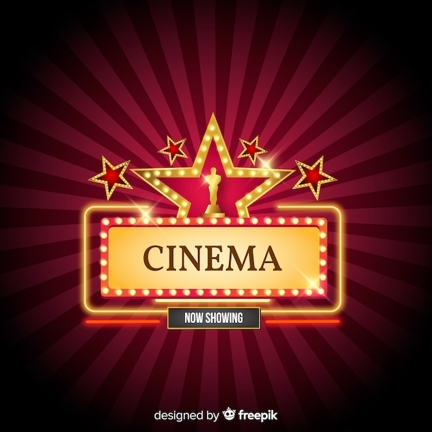 Cinema background with stars Free Vector