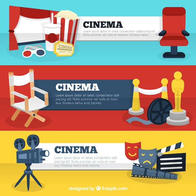 Cinema Banner Templates With Movies Accessories Premium Vector