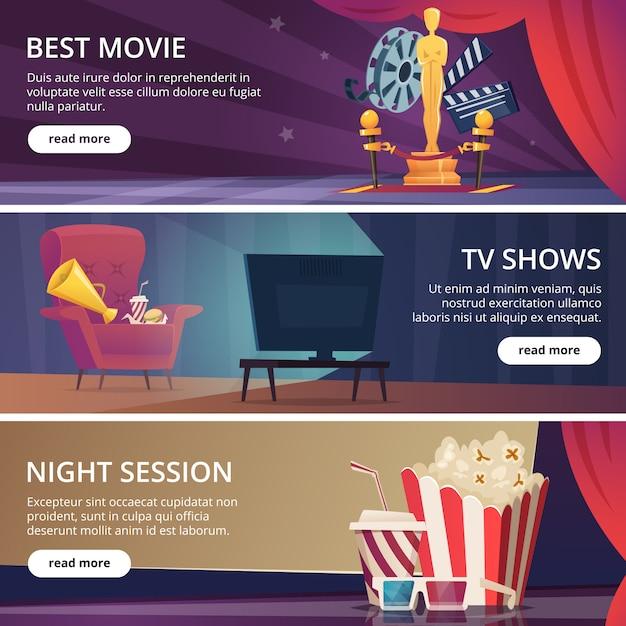 映画のバナー。映画ビデオと劇場エンターテイメント漫画アイコン3 dメガネポップコーンクラッパーメガホンベクトルテンプレート Premiumベクター