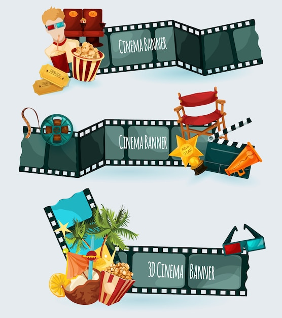 Cinema banners set Free Vector