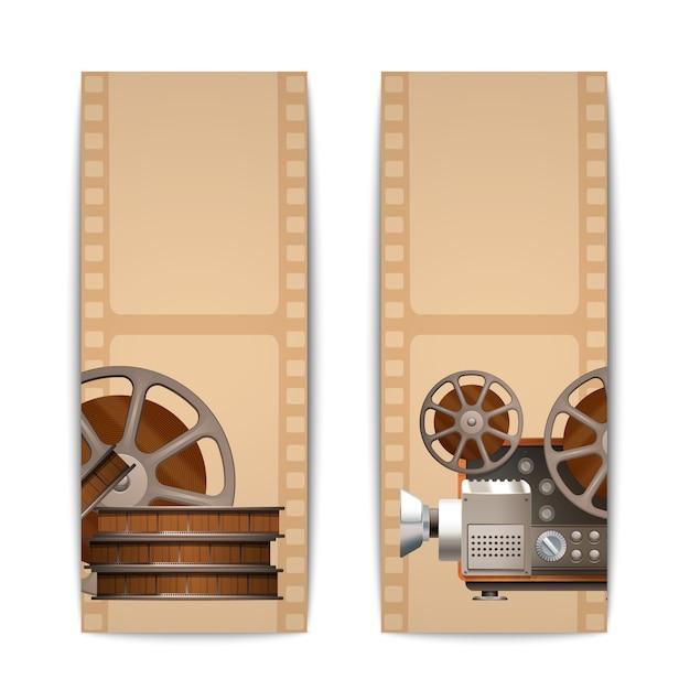 Cinema banners vertical Free Vector