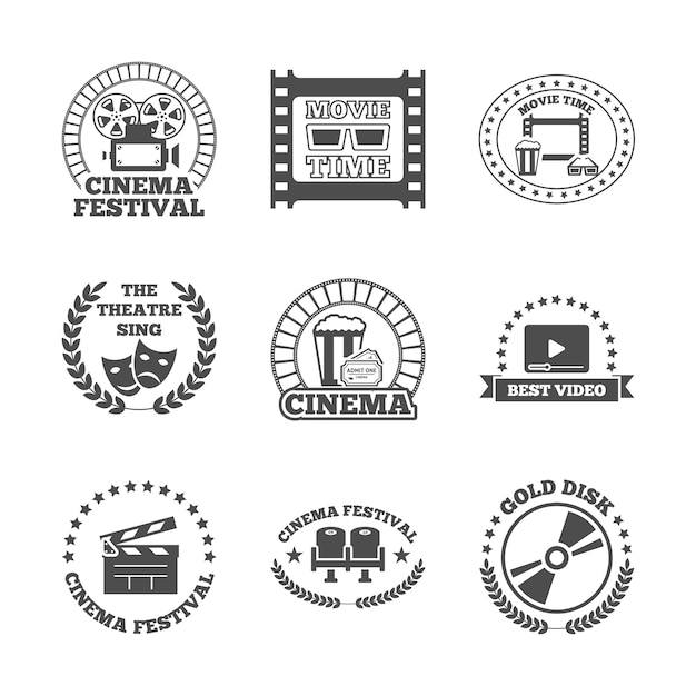 Cinema black retro labels icons set Free Vector
