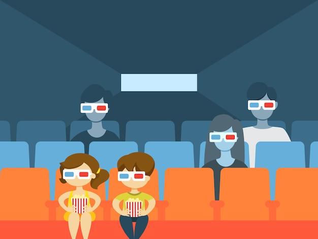 Интерьер здания кино с людьми, смотреть фильм и есть. Premium векторы