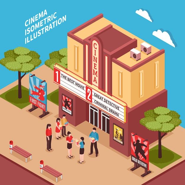 Cinema building isometric composition Free Vector