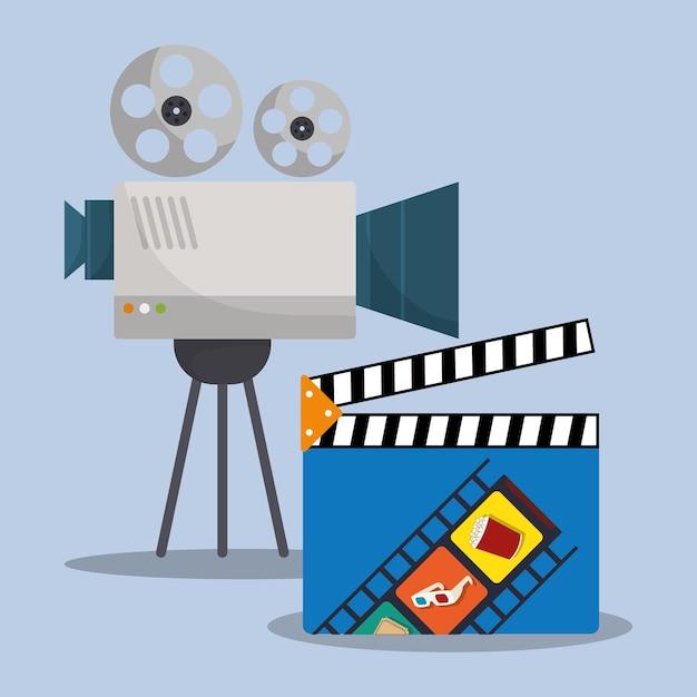 Cinema camera film clapper director Premium Vector