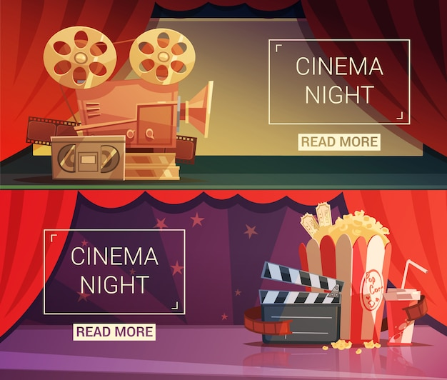 Cinema cartoon horizontal banners Free Vector
