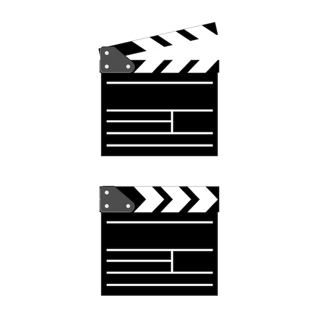 Cinema clapboard isolated on background. flat. Premium Vector