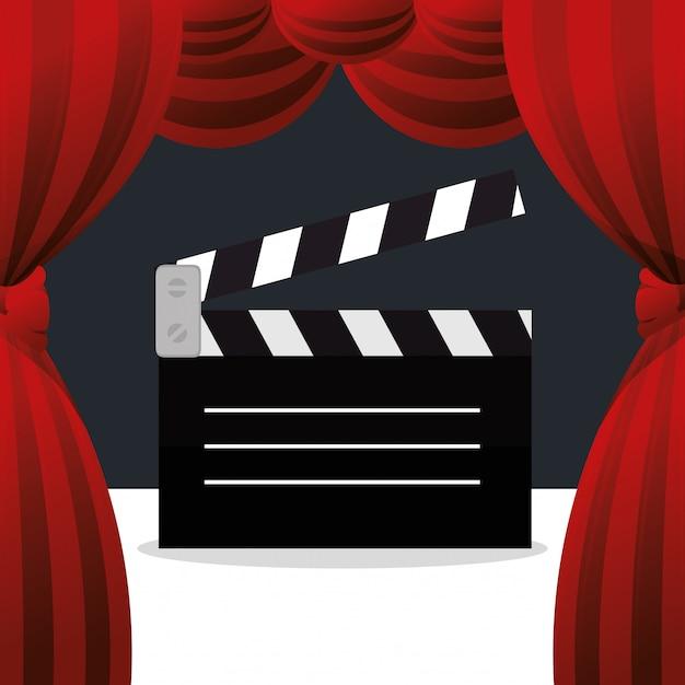 Cinema clapper board entertainment icon Free Vector